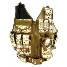 AMA Airsoft Cross-Draw Military Vest w/ Tactical Belt - DIGITAL DESERT