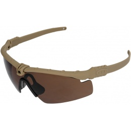 Airsoft Tan ANSI Z80 Shooting Glasses - TEA BROWN