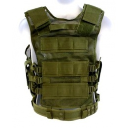 AMA Airsoft Cross-Draw Military Vest w/ Tactical Belt - OD GREEN