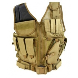 AMA Airsoft Cross-Draw Military Vest w/ Tactical Belt - COYOTE BROWN