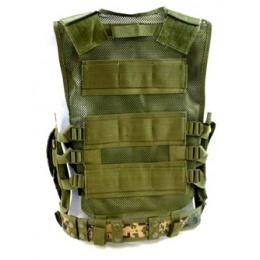 AMA Airsoft Cross-Draw Military Vest w/ Tactical Belt - DIGITAL WOODLAND