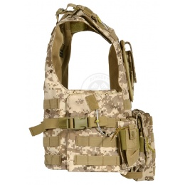 AMA Airsoft MOLLE Plate Carrier w/ 6 Pouches - DESERT