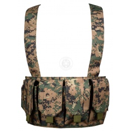AMA 600D Rugged 6 Magazine Pouch Tactical Chest Rig - DIGITAL WOODLAND