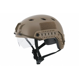 Lancer Tactical BJ Type Tactical Helmet w/ Visor - Medium - TAN