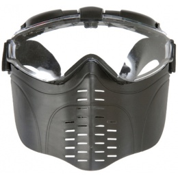 UK Arms Airsoft Tactical Goggle w/ Vented Face Guard and Fan - BLACK