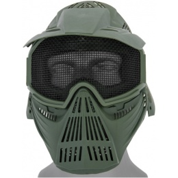 UK Arms Airsoft Tactical Face Mask w/ Visor and Eye Protection - OD