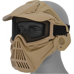 UK Arms Airsoft Tactical Face Mask w/ Visor and Eye Protection - TAN