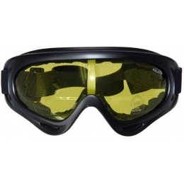 UK Arms Airsoft Tactical High Contrast Yellow Lens Goggles - BLACK