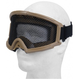 UK Arms Airsoft Tactical Protective Metal Wired Mesh Goggles - TAN