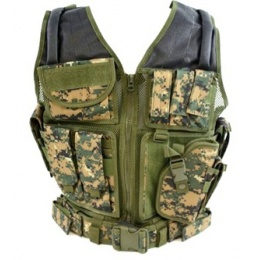 AMA Airsoft V2 Cross-Draw Military Vest w/ Tactical Belt - WOODLAND