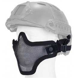 UK Arms Airsoft Tactical Metal Mesh Half Mask Helmet Version - BLACK