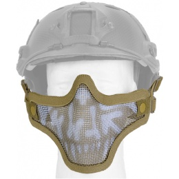 UK Arms Airsoft Tactical Metal Mesh Half Mask Helm Vers- TAN/SKULL