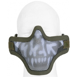 UK Arms Airsoft Tactical Metal Mesh Half Mask - DRAB/SKULL