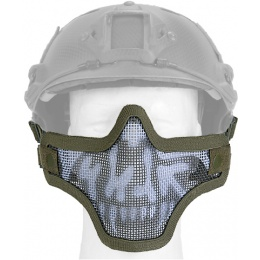 UK Arms Airsoft Tactical Metal Mesh Half Mask Helm Vers - SKULL/DRAB