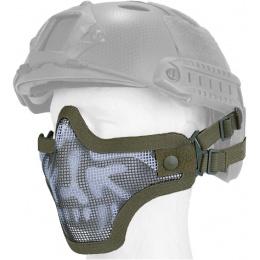 UK Arms Airsoft Tactical Metal Mesh Half Mask Helm Vers - SKULL/DRAB