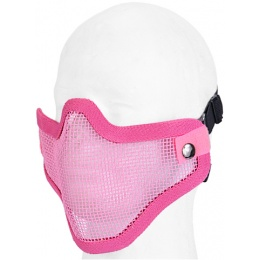 UK Arms Airsoft Tactical Metal Mesh Half Mask - PINK