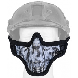 UK Arms Airsoft Tactical Metal Mesh Half Mask Helm Vers - SKULL/BLACK