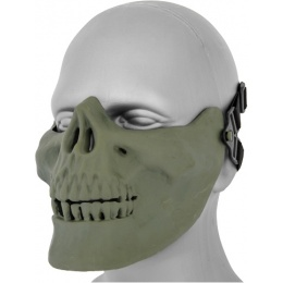 UK Arms Airsoft Tactical Skull Lower Half Face Mask - GREEN