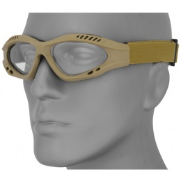 UK Arms Airsoft Zero Clear Safety Shooting Goggles - TAN