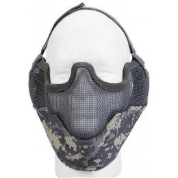 UK Arms Airsoft Metal Mesh Lower Half Face Mask w/ Ear Pro - ACU