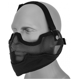 UK Arms Airsoft Metal Mesh Lower Half Face Mask w/ Ear Pro - BLACK