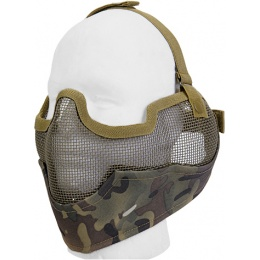 UK Arms Airsoft Metal Mesh Lower Half Face Mask w/ Ear Pro - CAMO