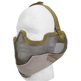 UK Arms Airsoft Metal Mesh Half Face Mask w/ Ear Pro - 3 CLR DESERT
