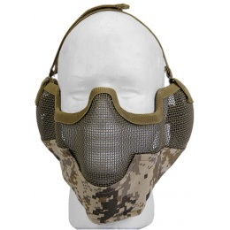 UK Arms Airsoft Metal Mesh Half Face Mask w/ Ear Pro - DESERT DIGI