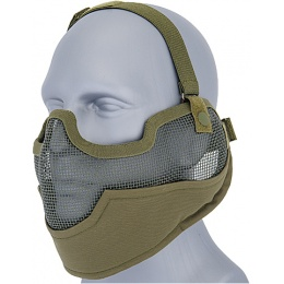 UK Arms Airsoft Metal Mesh Half Face Mask w/ Ear Pro - OD GREEN
