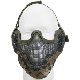 UK Arms Airsoft Metal Mesh Lower Half Face Mask w/ Ear Pro - MARPAT