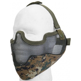 UK Arms Airsoft Metal Mesh Lower Half Face Mask w/ Ear Pro - MARPAT
