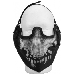 UK Arms Airsoft Metal Mesh Half Face Mask w/ Ear Pro - BLACK/SKULL