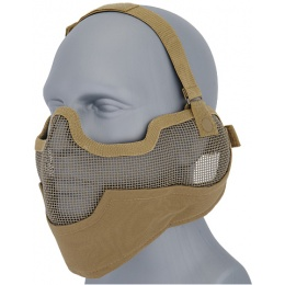 UK Arms Airsoft Metal Mesh Lower Half Face Mask w/ Ear Pro - DESERT