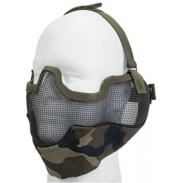 UK Arms Airsoft Metal Mesh Half Face Mask w/ Ear Pro - WOODLAND CAMO