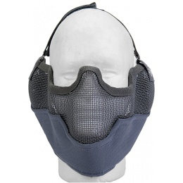 UK Arms Airsoft Metal Mesh Lower Half Face Mask w/ Ear Pro - GRAY