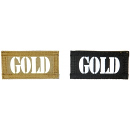 UK Arms Airsoft Hook and Loop Base GOLD (2) Patch Set - TAN/BLACK