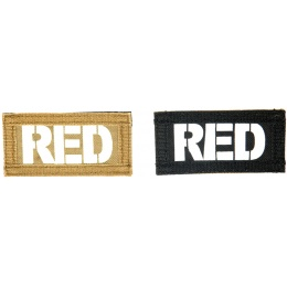 UK Arms Airsoft Hook and Loop Base RED (2) Patch Set - TAN/BLACK