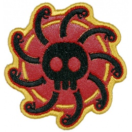 UK Arms Airsoft Hook and Loop Base Gorgon Patch - RED/BLACK