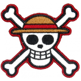 UK Arms Airsoft Hook and Loop Base Straw Hat Pirates Patch - TAN/WHITE