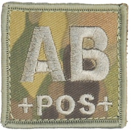 UK Arms Airsoft Hook and Loop Base Blood Type AB Patch - CAMOUFLAGE