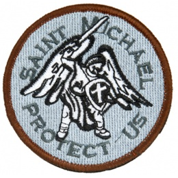 AMA Airsoft Hook and Loop Base Saint Michael Patch - WHITE/GRAY