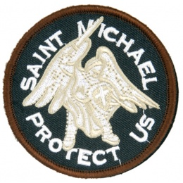 AMA Airsoft Hook and Loop Base Saint Michael Patch - WHITE/BLACK