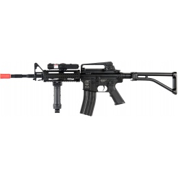 ICS Airsoft M4 AEG w/ RAS Tactical Folding Stock - BLACK