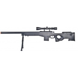 Well Airsoft L96 AWS Bolt Action Rifle w/ Bipod and Scope - BLACK