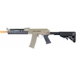 Lancer Tactical Airsoft AK Plastic RIS Tactical AEG Rifle - TAN