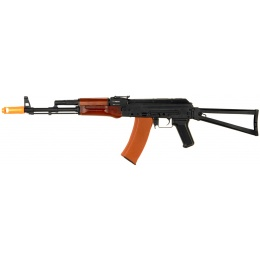 JG Airsoft AK74 AEG EBB Rifle w/ Real Wood Handguard Folding Stock