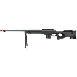 Well Airsoft Bolt Action Rifle w/ Fluted Barrel and Bipod - BLACK