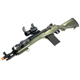 AGM M14 SOCOM RIS Airsoft Sniper Rifle w/ Flashlight and Scope - OD