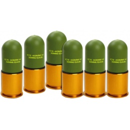 ICS Airsoft ABS Plastic Gas Grenade Shell 40mm (Set of 6)