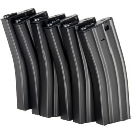 ICS Airsoft M4 Magazines Metal 450 Rd Capacity - 6 PACK - BLACK